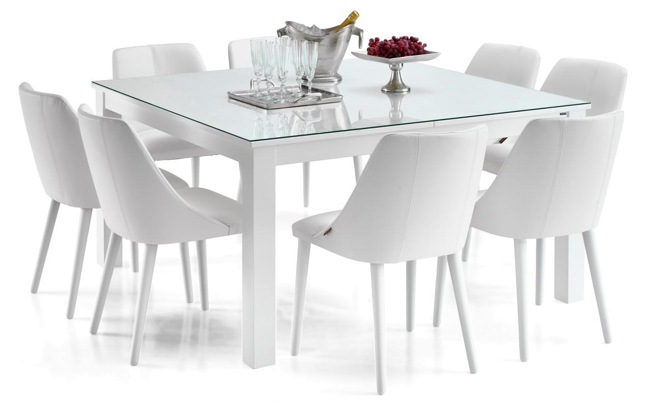 AAVA-ruokapöytä lasikannella ja 8 RONDO-tuolia