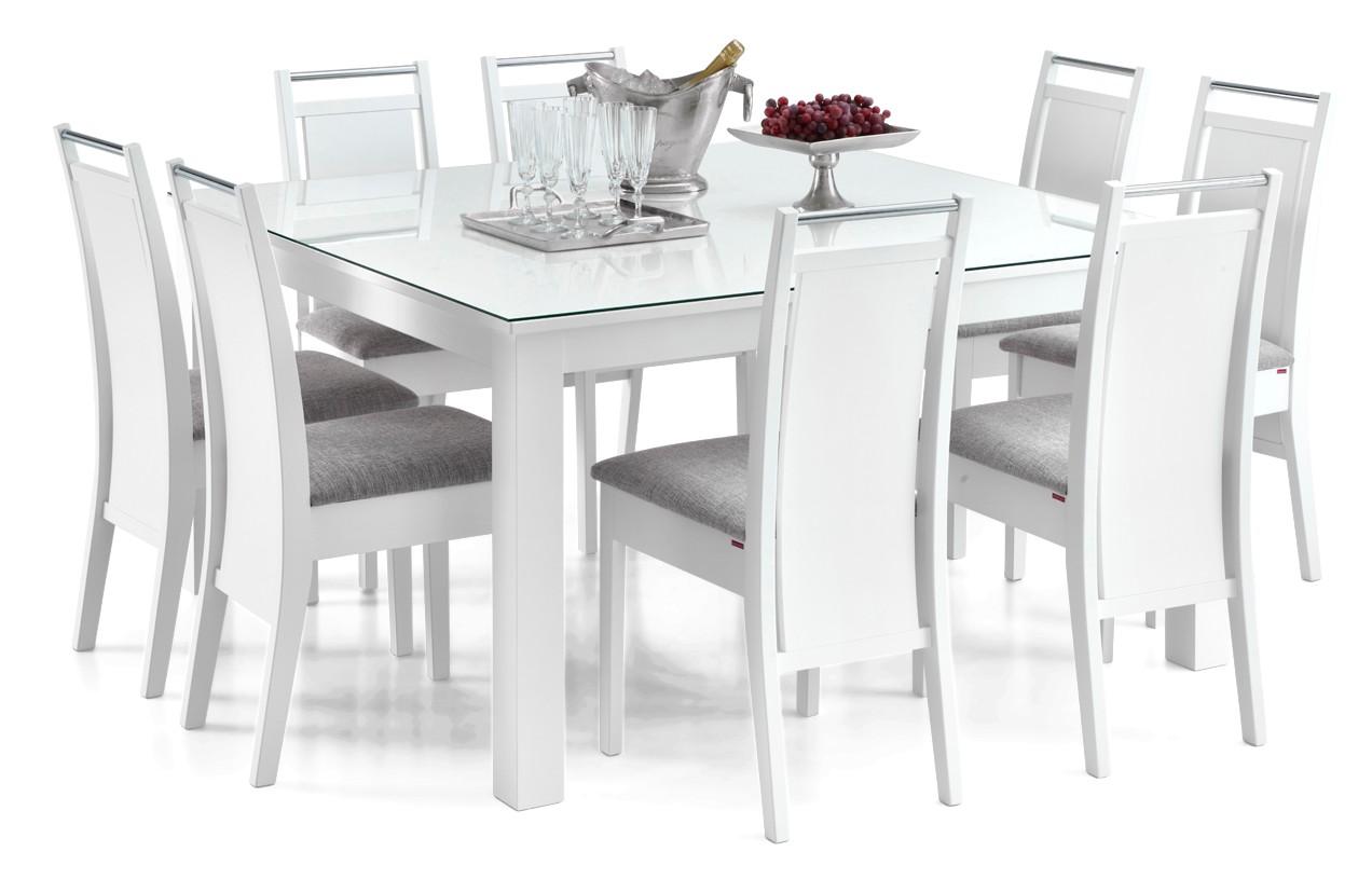 AAVA-ruokapöytä lasikannella ja 8 KOLI-tuolia