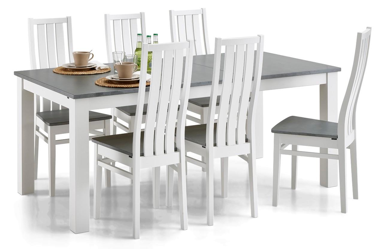 AAVA-jatkettava ruokapöytä ja 6 MERI-tuolia