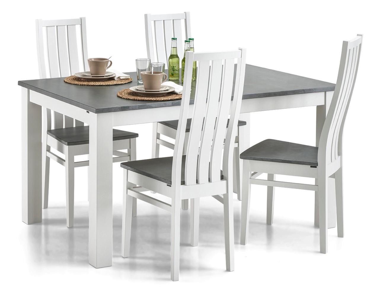 AAVA-jatkettava ruokapöytä ja 4 MERI-tuolia