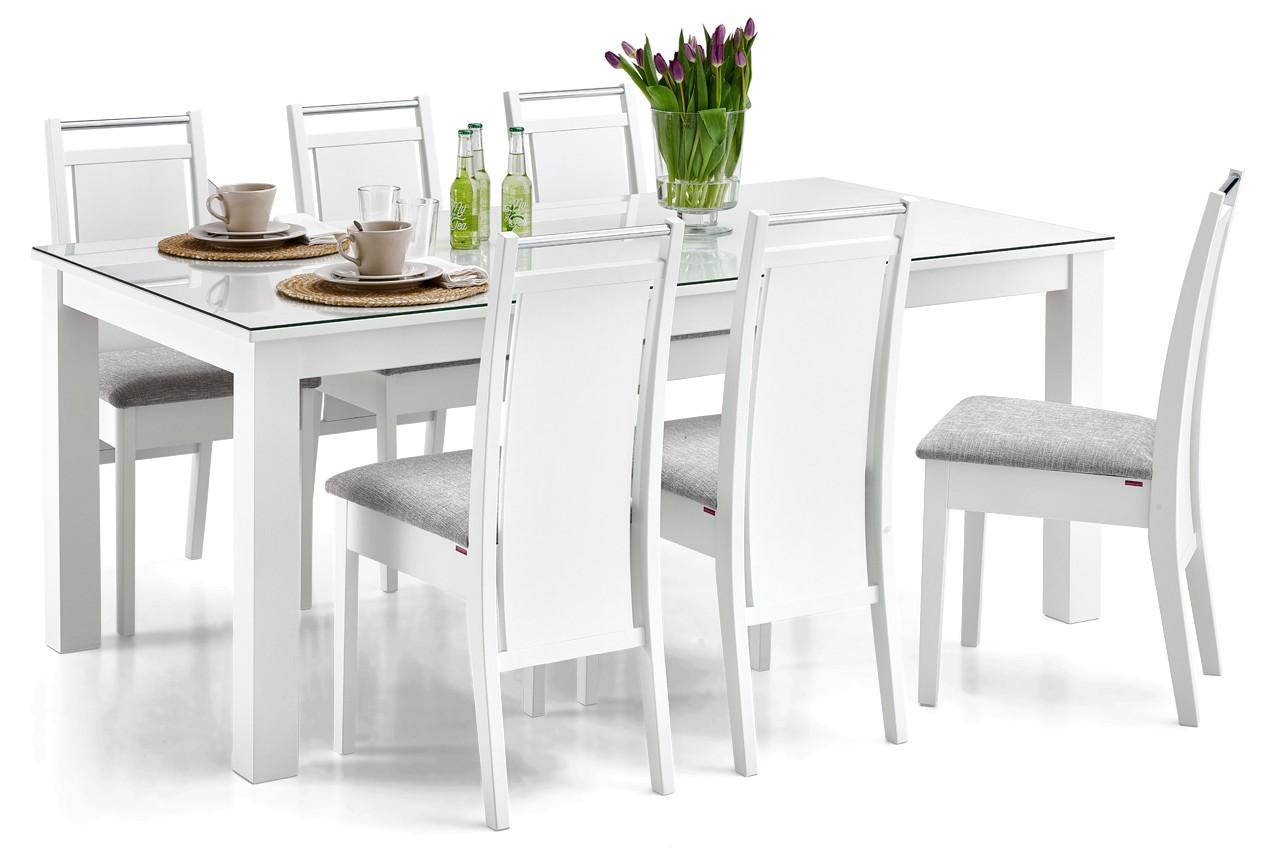 AAVA-ruokapöytä lasikannella ja 6 KOLI-tuolia
