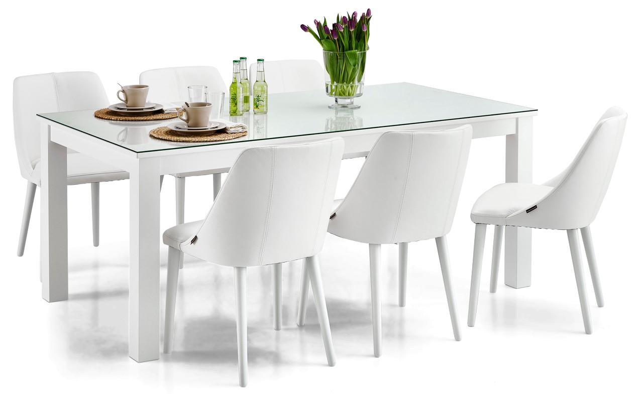 AAVA-ruokapöytä lasikannella ja 6 RONDO-tuolia