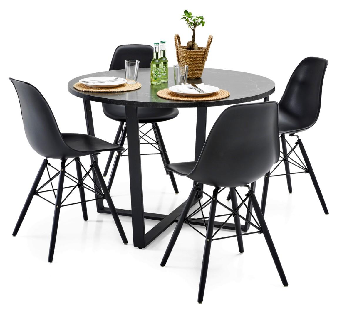 GRACE-ruokapöytä ja 4 ELTON-tuolia