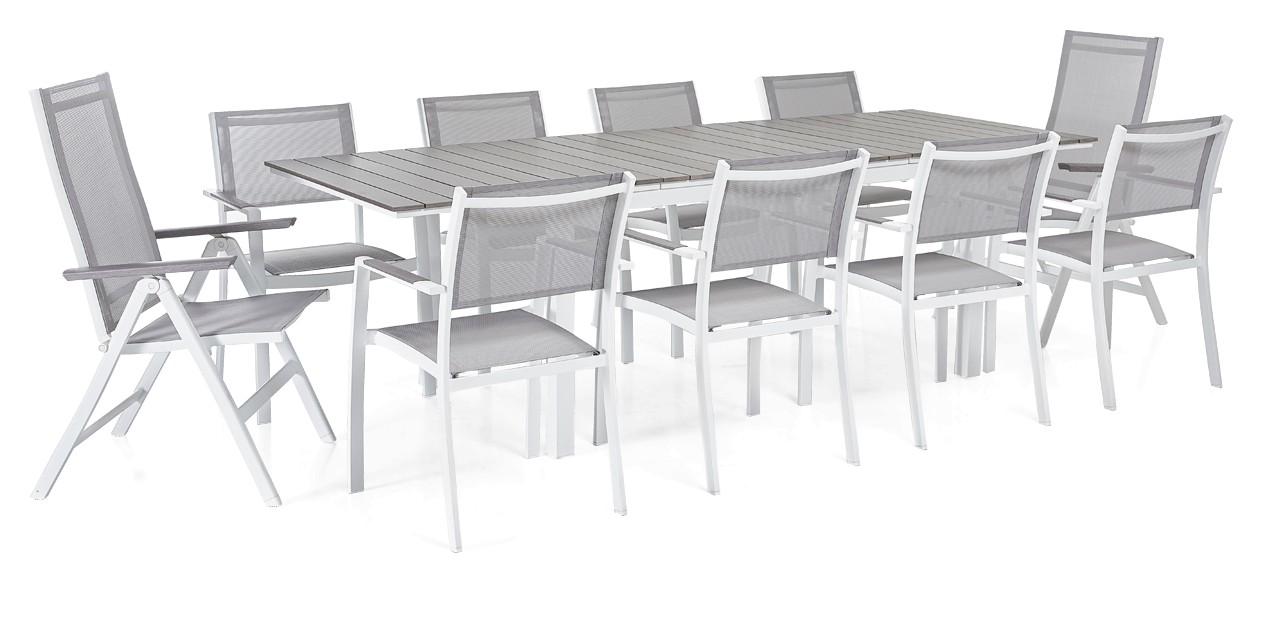 TRIESTE-jatkopöytä, 8 tuolia ja 2 säädettävää tuolia