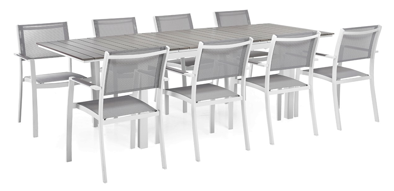 TRIESTE-jatkopöytä ja 8 tuolia