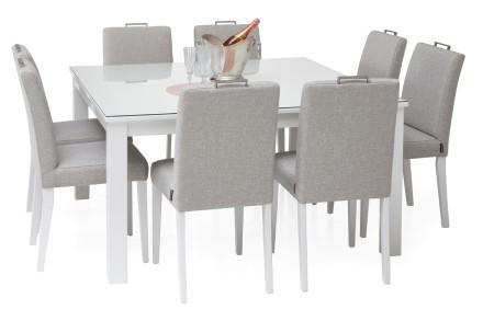 AAVA-ruokapöytä lasikannella ja 8 SÄDE-tuolia