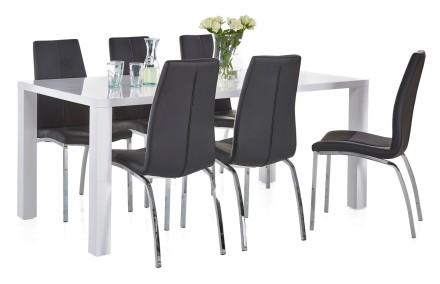 BASE-ruokapöytä, korkeakiiltovalkoinen ja 6 ASTON-tuolia