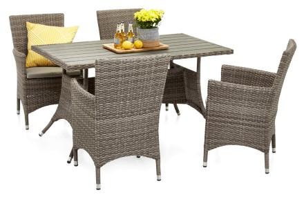 FIGO-pöytä ja 4 tuolia käsinojilla